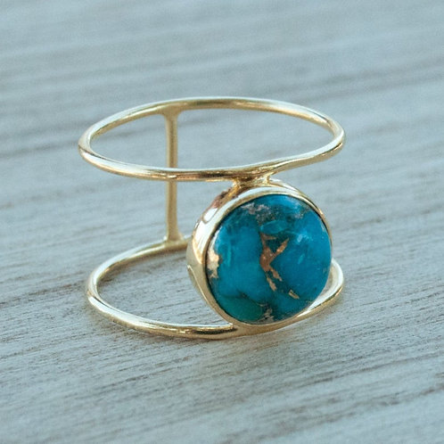 TURQUOISE MOON GOLD RING