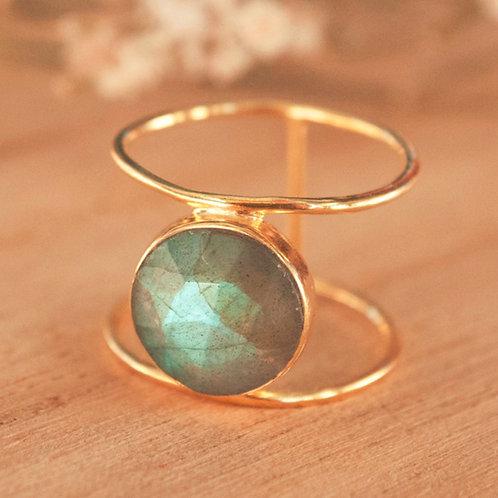 LABRADORITE MOON GOLD RING