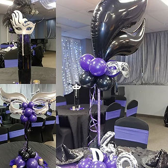 black and purple table balloon bouquet.j