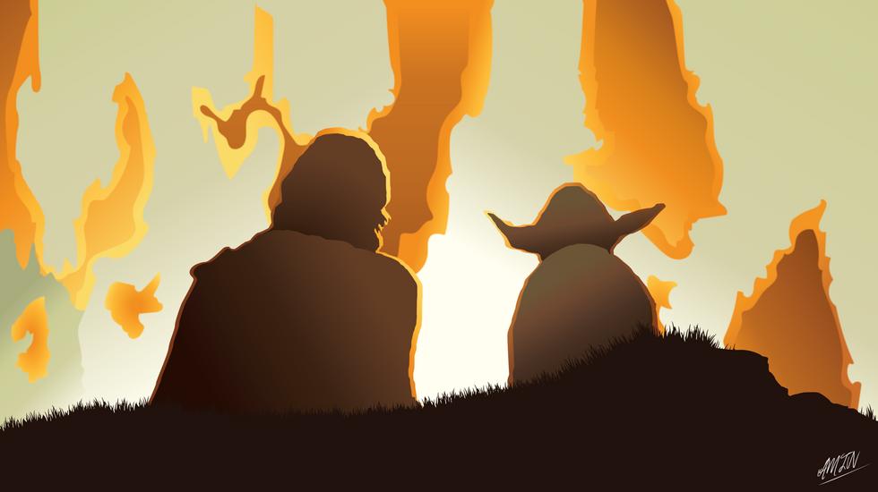 Luke and Yoda (Star Wars: The Last Jedi)