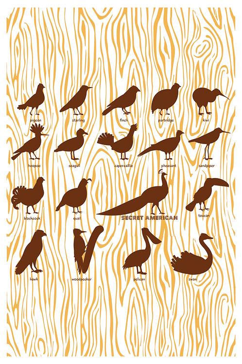 """""""Bird Watching"""" hand silk-screened white 12.5""""x19"""" poster"""