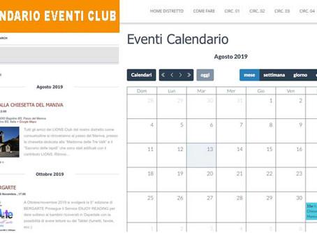 01/08/19 - CALENDARIO EVENTI CLUB