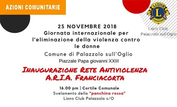 25/11/18 - PANCHINA ROSSA CONTRO LA VIOLENZA SULLE DONNE