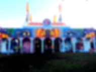 We painted this building at Boomtown Fair 2017. I designed the mural and directed a team of 5 to coordinate the full 27 x 5m piece. The piece is about usreconnecting to our roots, learning ancient knowledge of self and understanding the connections of the flower of life between all that is in our Universe.