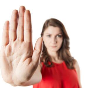 Woman signaling stop