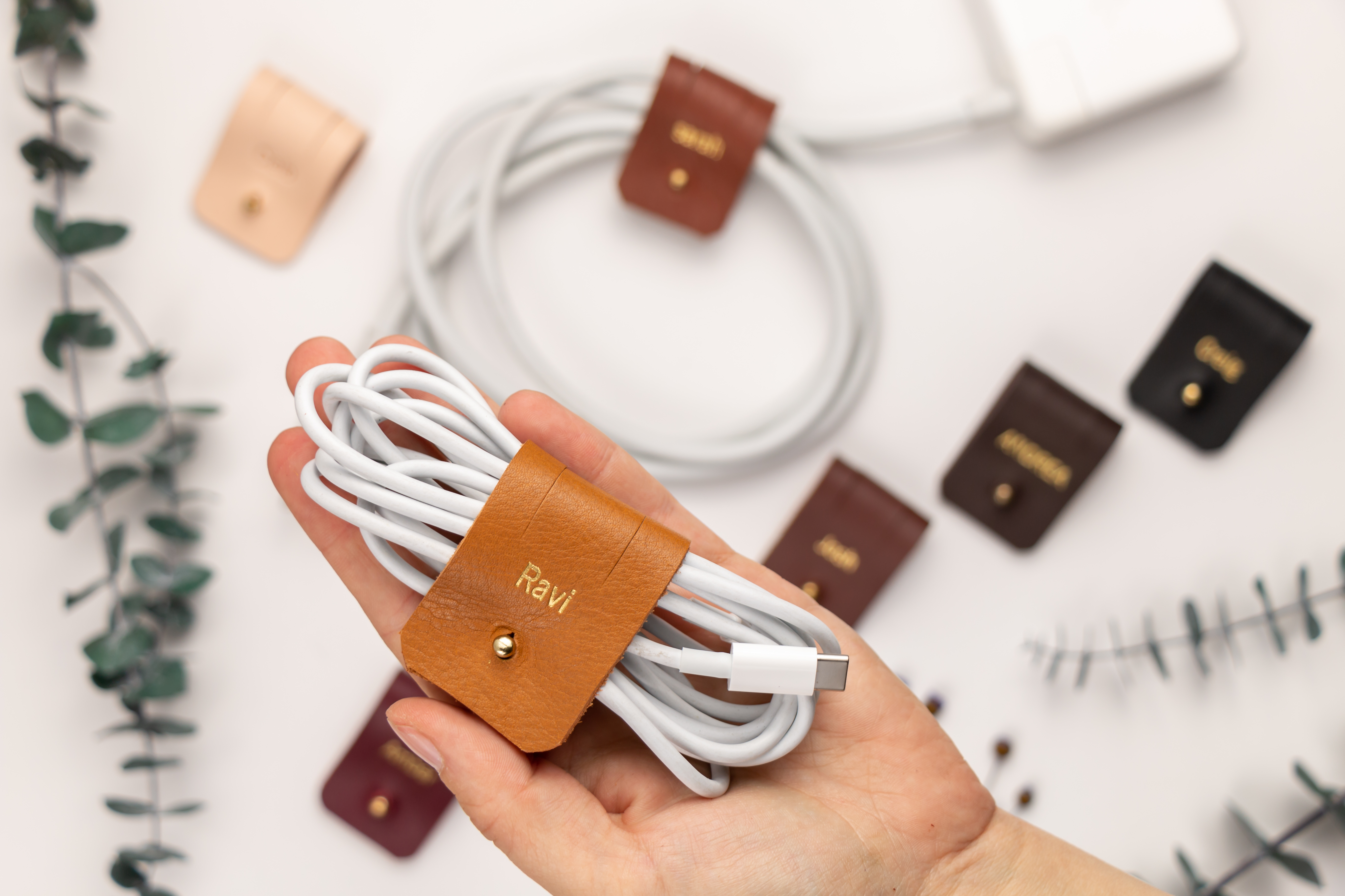 Personalized leather cord holder, ca