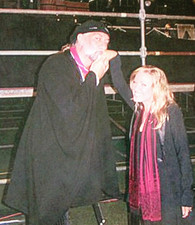 Jana Anderson with Mick Fleetwood of Fleetwood Mac before a show
