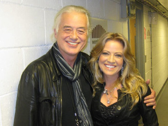 Jana Anderson with Jimmy Page, the founder and guitarist of legendary rock band, Led Zeppelin