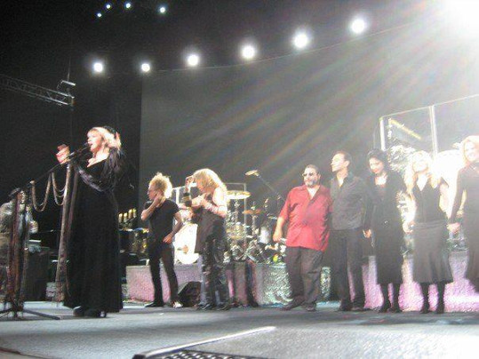 Jana Anderson singing background vocals with Stevie Nicks and just before the final bow at a concert