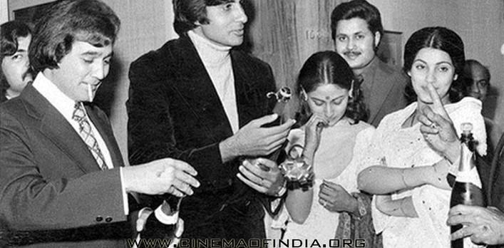 Rajesh Khanna, Amitabh Bachchan, Jaya Bhaduri Bachchan and Dimple Kapadia