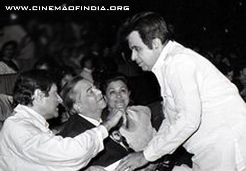 Dev Anand, Raj Kapoor, Krishna Kapoor and Dilip Kumar