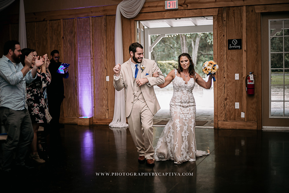 Couple's grand entrance