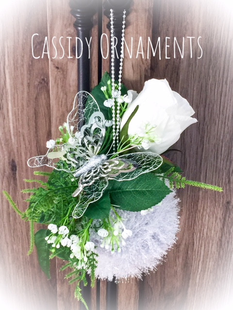 Small Ivory Rosebud & Gypsophila Fern with Silver Butterfly Floral ...