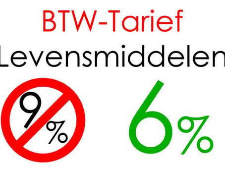Verhoging lage btw tarief van 6% naar 9% met ingang van 1 januari 2019