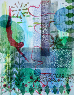 Diving In Monoprint