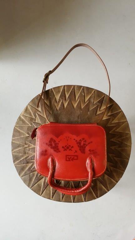 007-Vintage-Verso-Ma petite trousse en cuir Rouge et Noire-20x16cm