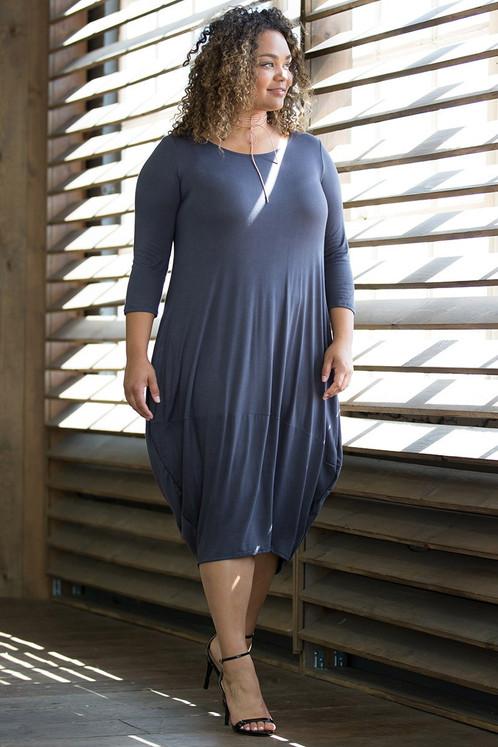 Plus Size Denim Blue Maxi Dress w/ Pockets