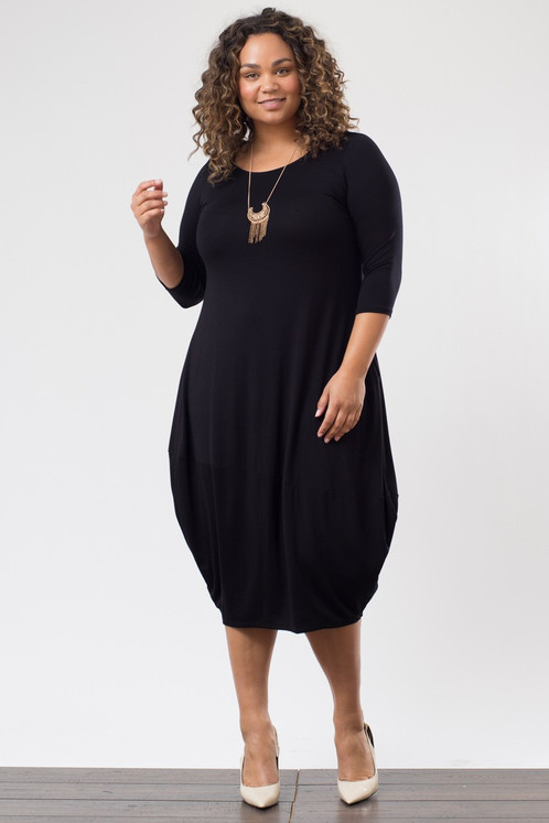 Plus Size Black Maxi Dress W Pockets