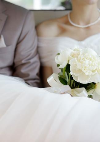 Elegant white Bridal Bouquet. Peonies