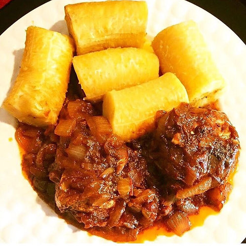 Boiled Plaintain with Stew