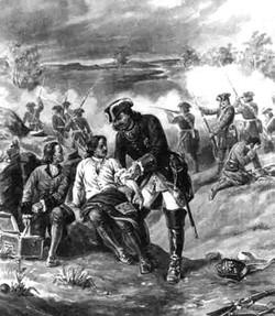 Пётр сам перевязывает раненного солдата.