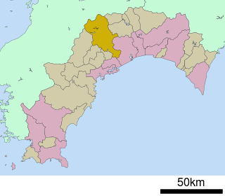 Map of Kochi.  Facing to the Pacific Ocean.  The yellow part is Ino.