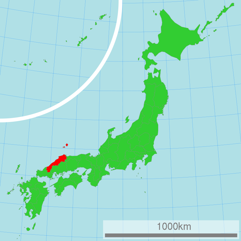 The red part is Shimane facing to the Japan sea.