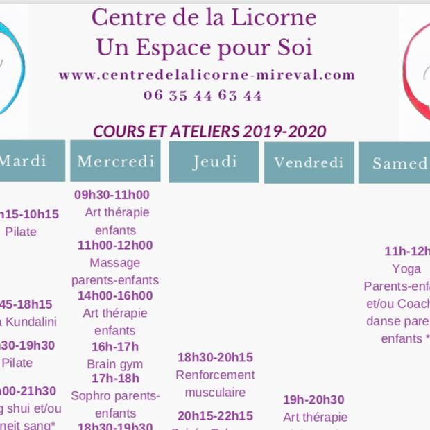 cours et ateliers 2019-2020