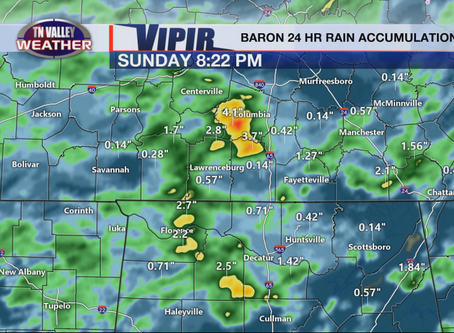 Uneven Rain Totals Sunday