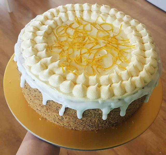 Vegan Lemon Poppy Drizzle Layer Cake