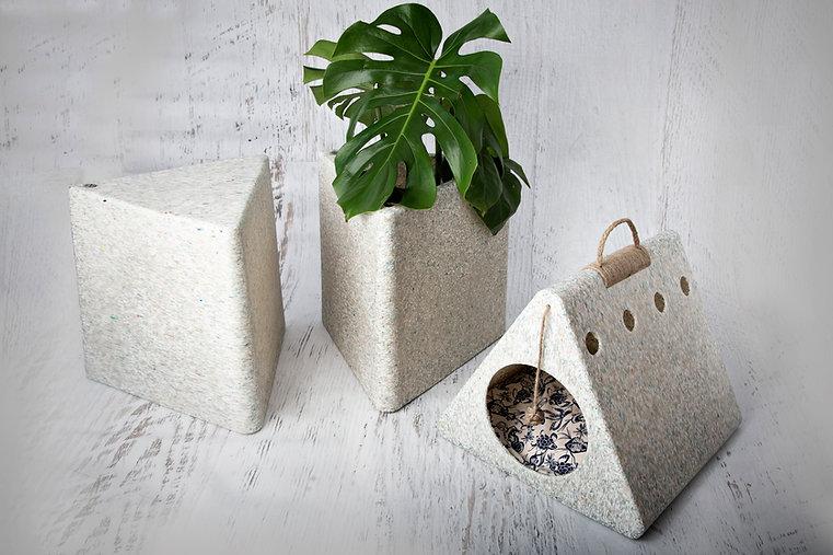 diseño sustentable banquito maceta cucha