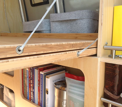 Bamboo desk with dyneema rope and stainless steel inserts