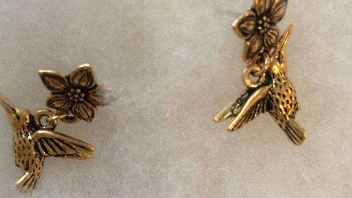 Gold-Tone vintage Hummingbird Earrings