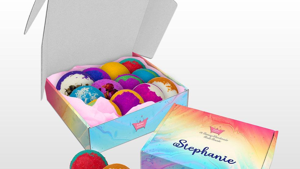 12 Luxury Handmade Bath Bombs in a personalised gift box