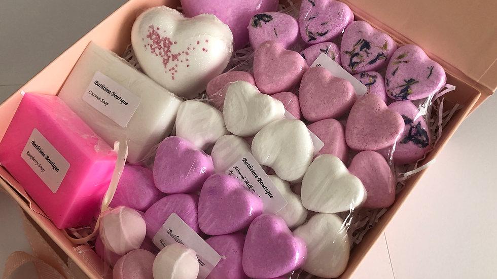 Large Pink & White Soap & Bath Bomb Gift Box