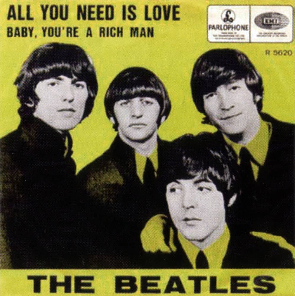Album cover of the 1976 Beatles single 'All you need is love'
