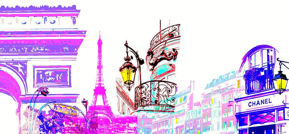 A silhouette of buildings across the Paris skyline