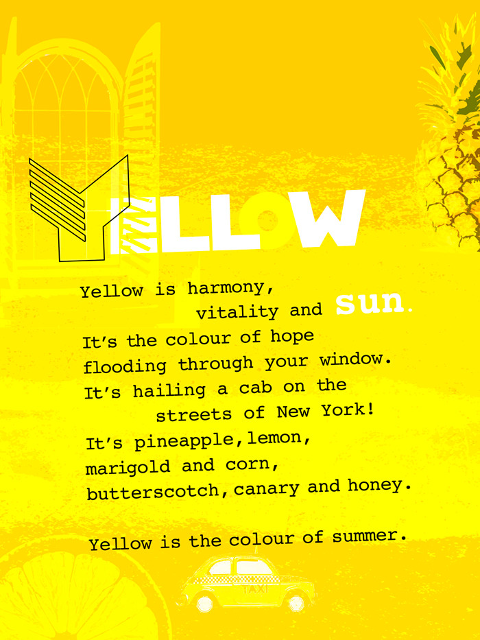 Yellow colour digital poster with poem and yellow icons
