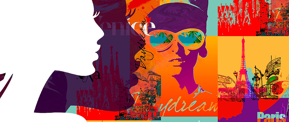 An digital illustration of 2 silhouetted faces against a background of illustrated travel images.
