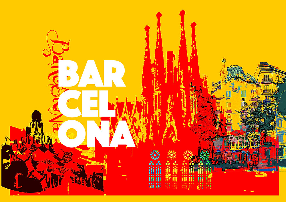 Yellow and red Barcelona travel poster