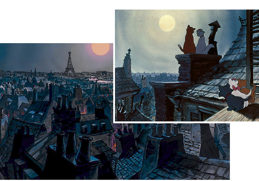 Views over the chimneypot laden buildings of Paris illuminated against a moonlit sky.