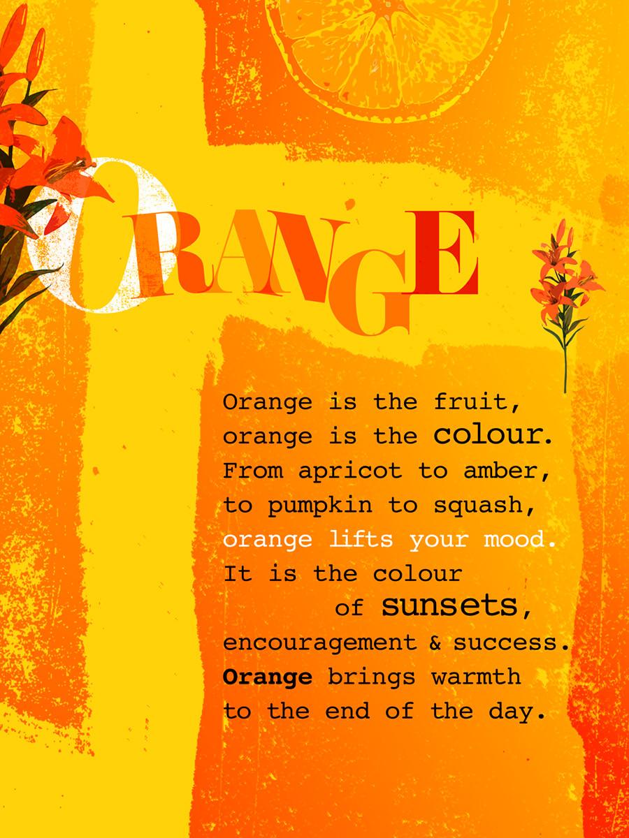 Orange colour digital poster with poem and orange icons