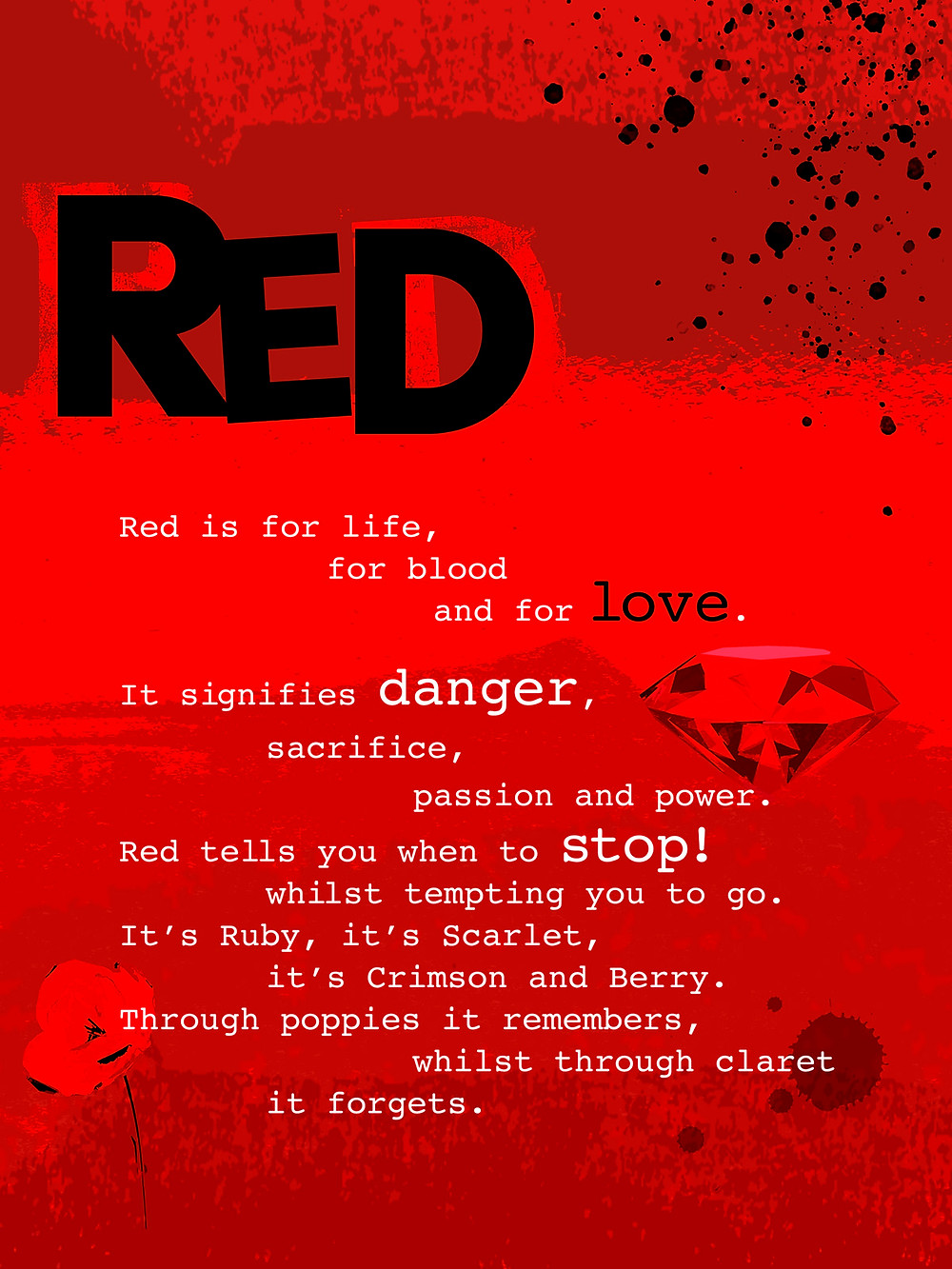 Red colour poster with poem and red icons