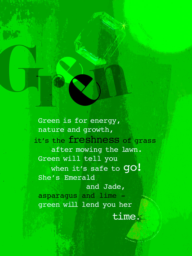 Green colour digital poster with poem and green icons