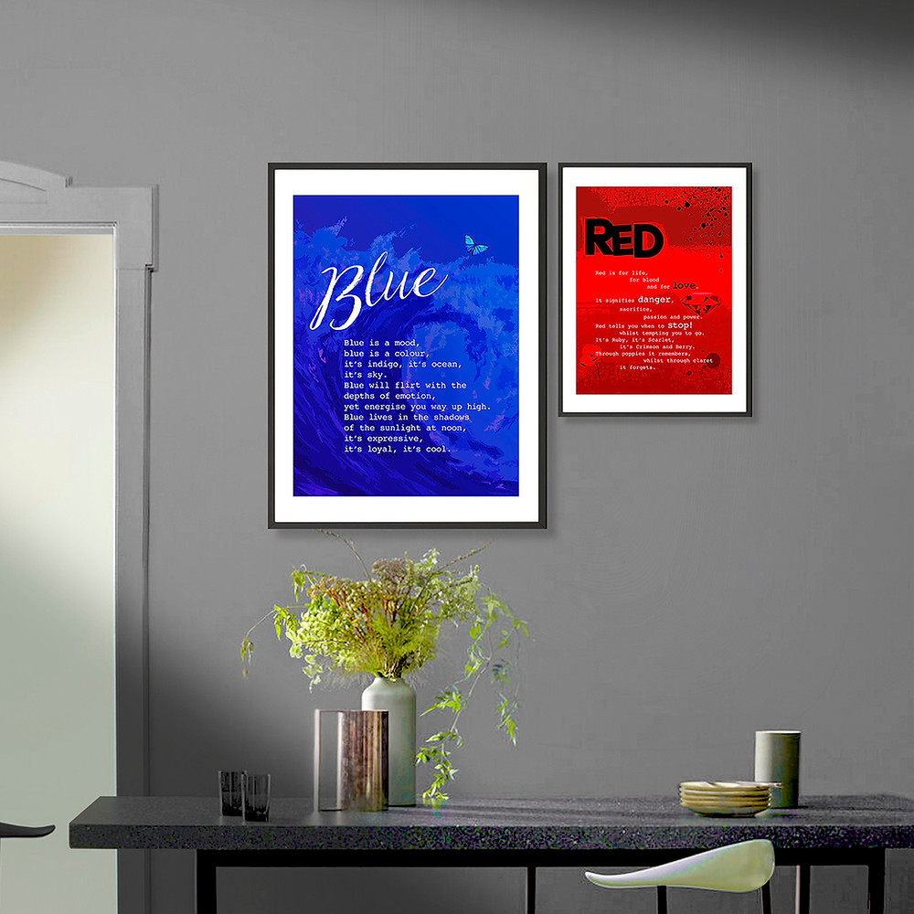 Image of a wall displaying 2 fine art prints framed, one blue and one red.