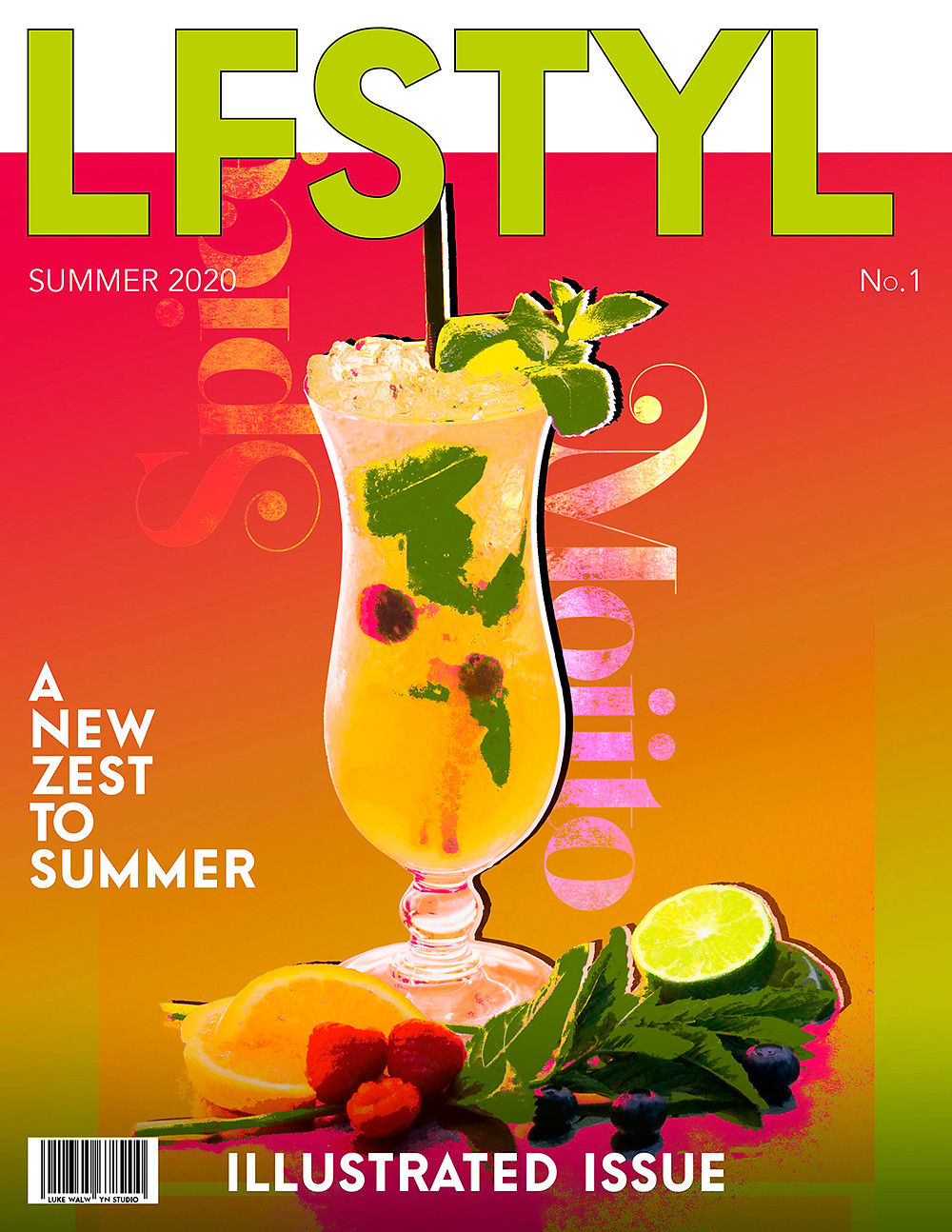 Magazine front cover depicting Spiced Mojito cocktail against vibrant orange background