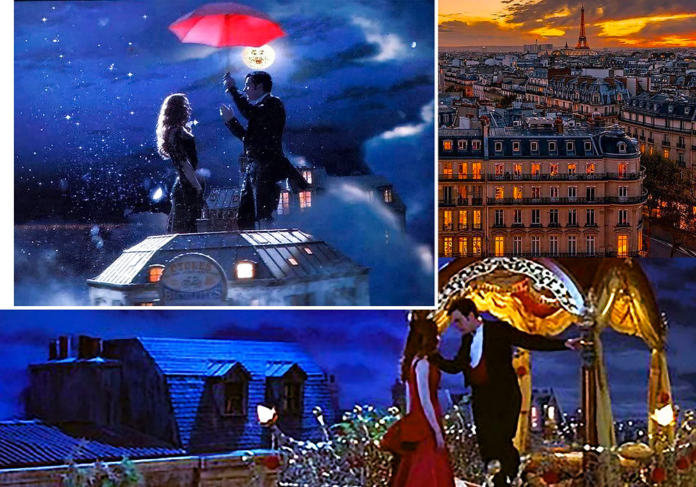 A compilation of images from scenes overlooking Paris rooftops in the movie 'Moulin Rouge' by Baz Luhrmann.