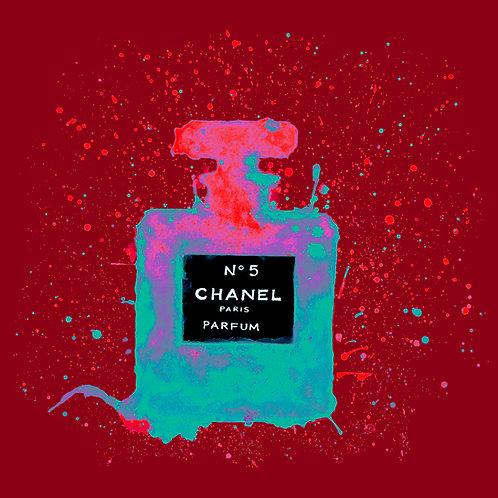 Chanelling No. 5 - Red/Aqua : Art Tile