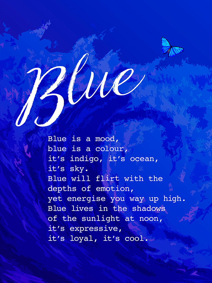 Blue colour digital poster with poem and green icons