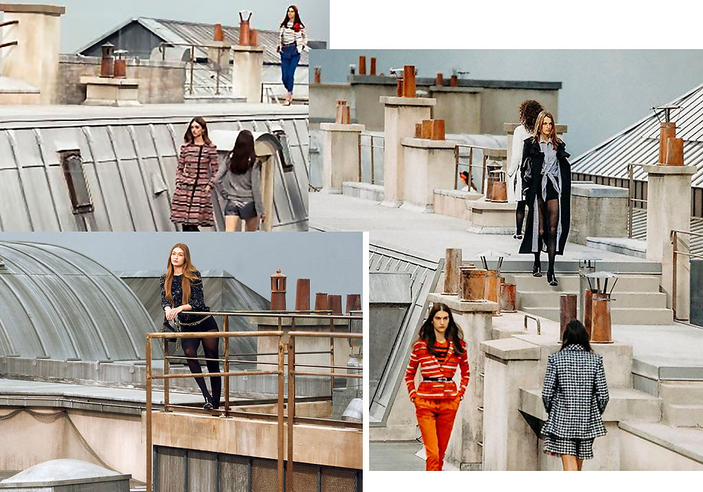 A compilation of images taken from the Chanel Spring-Summer 2020 runway show on a rooftop in Paris.